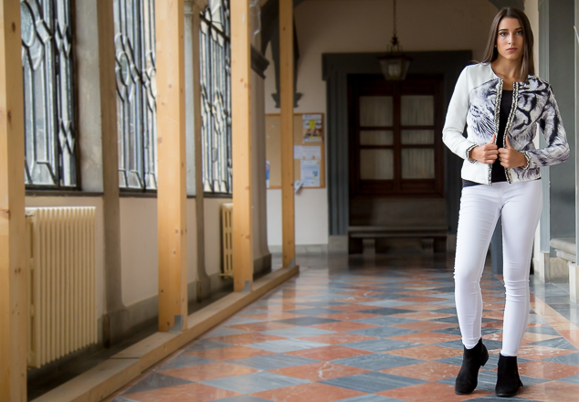 Look animal print en blanco y negro