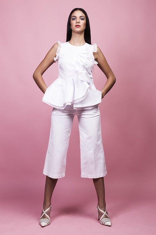 camisas con volantes blancas